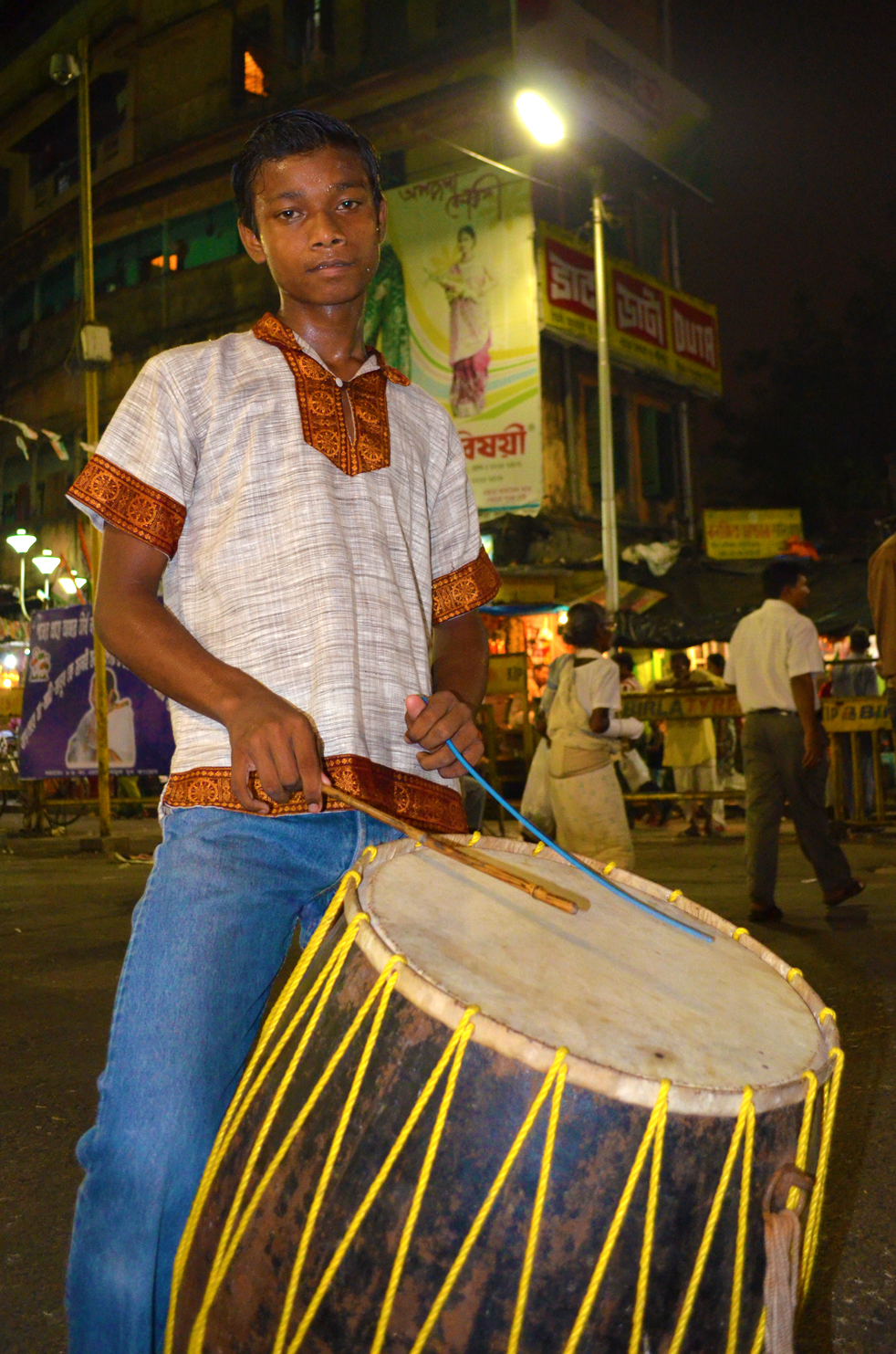 Lala and his giant drum, called dhak