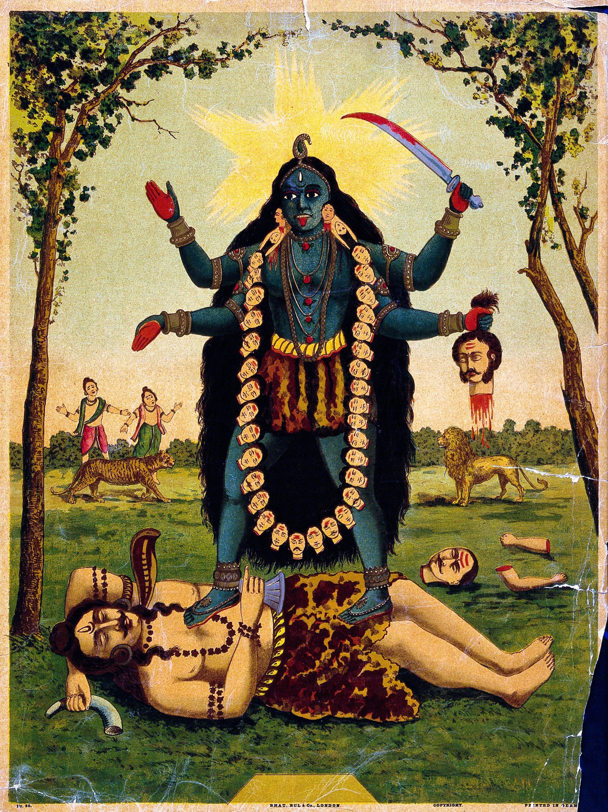Kali. Chromolithograph by Bhau, Bul & Co. of London, 19th century German print.